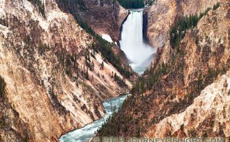 The Yellowstone River tumbles 308 feet into the Grand Canyon of the Yellowstone, the largest major waterfall by volume in the Rocky Mountains.