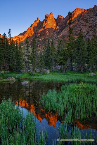 I've hiked several times to beautiful Emerald Lake in Rocky Mountain National Park. On this excursion, I decided to go off the beaten path a bit and follow the stream that flows out of the lake. I was rewarded with a beautiful sunrise on Flattop reflected in this verdant little marshy area.