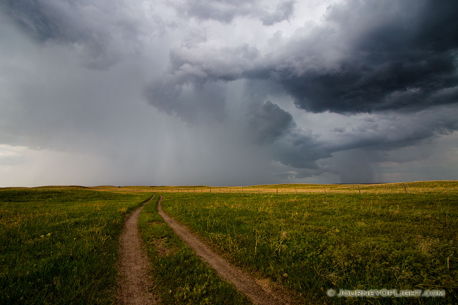 An ominous storm hovers over a two track in McKelvie National Forest. The clouds slowly roll through dropping rain over the sandhills while lightning lights up the sky and the sound of thunder fills the air.