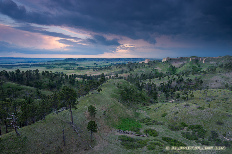 Clouds form in the evening over Ft. Robinson State Park in northwestern Nebraska. Originally, a U.S. Army fort it has a checkered history in regards to the conflicts with Native Americans in the late 1800s.