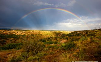 After an intense day of rain a beautiful rainbow appears over a canyon in the west area of Mesa Verde National Park.