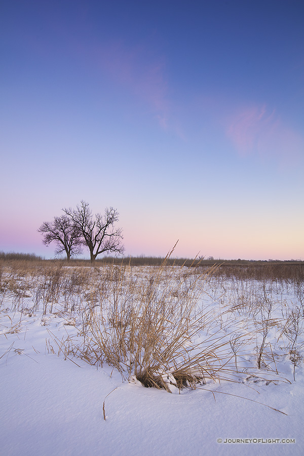 On a cold, winter day, dusk falls upon the prairie at Boyer Chute National Wildlife Refuge in eastern Nebraska.