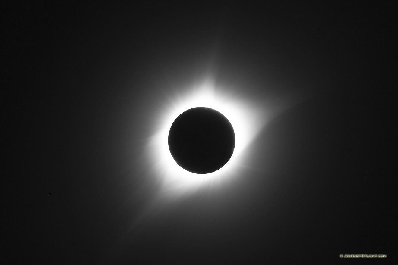 This is one of nature's most awe-inspiring shows, the total solar eclipse. Totality captured over Agate Fossil Beds National Monument in Northwestern Nebraska on a clear, beautiful day. Also known as the Eclipse of the Century.
