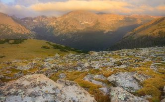 The first light of day illuminates Terra Tomah mountain in Rocky Mountain National Park, Colorado.