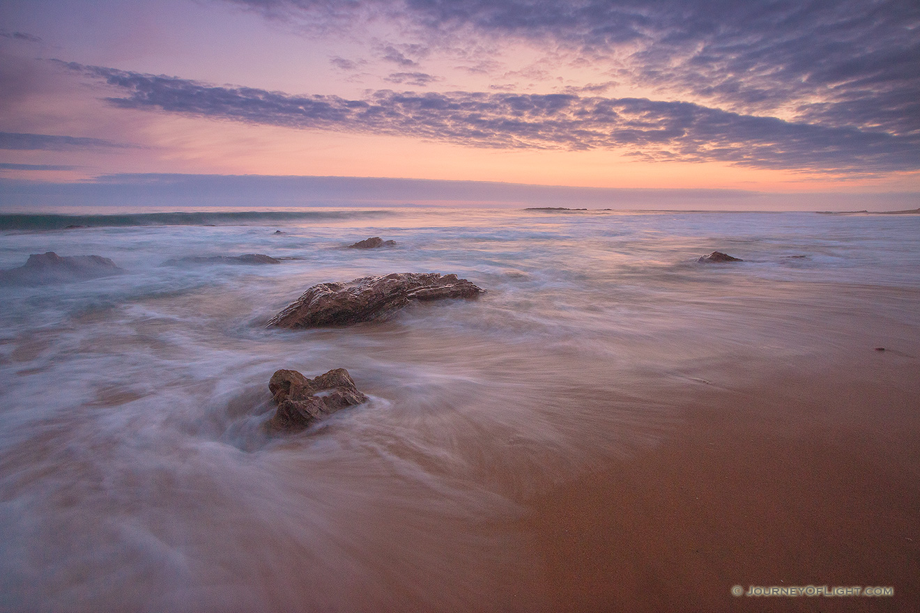 Dusk falls over the beach at Crystal Cove State Park, California. - State of California Picture