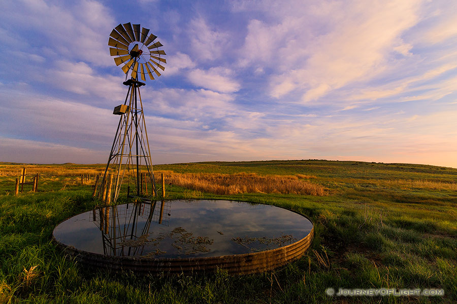 A beautiful sunrise and windmill in the sandhills of western Nebraska. - Nebraska Photography