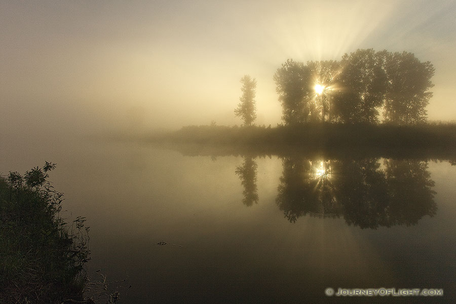 Morning fog rises from an offshoot of the Missouri at Ponca State Park in northeastern Nebraska. - Ponca SP Photography