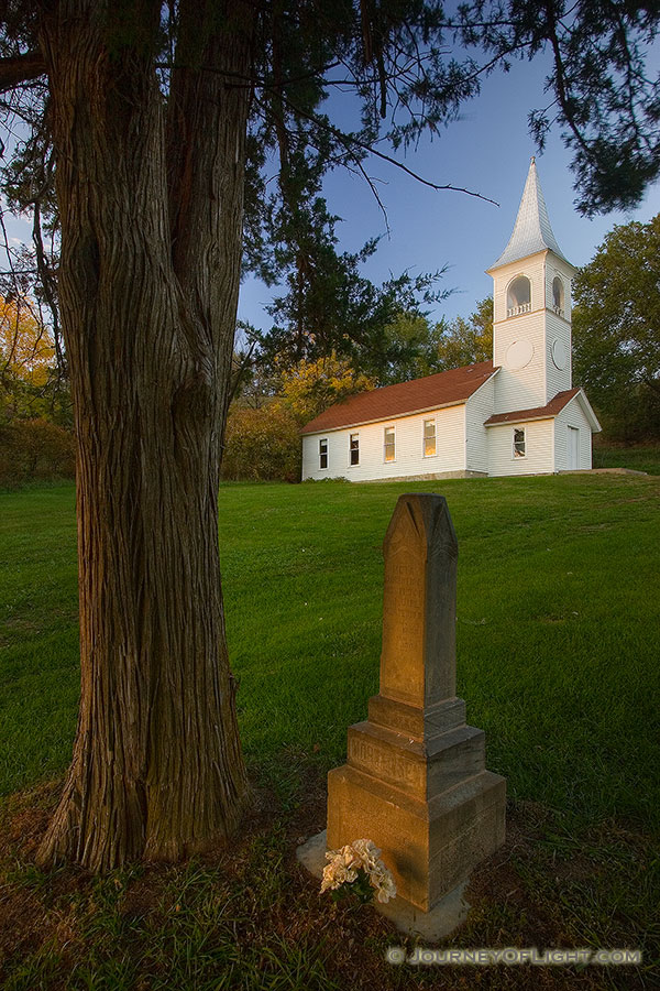 The Ingemann Danish Church and Cemetery west of Moorhead in the Loess Hills of Iowa was founded by early immigrants in 1884. This unique country church offers a scenic respite for travelers. - Iowa Photography