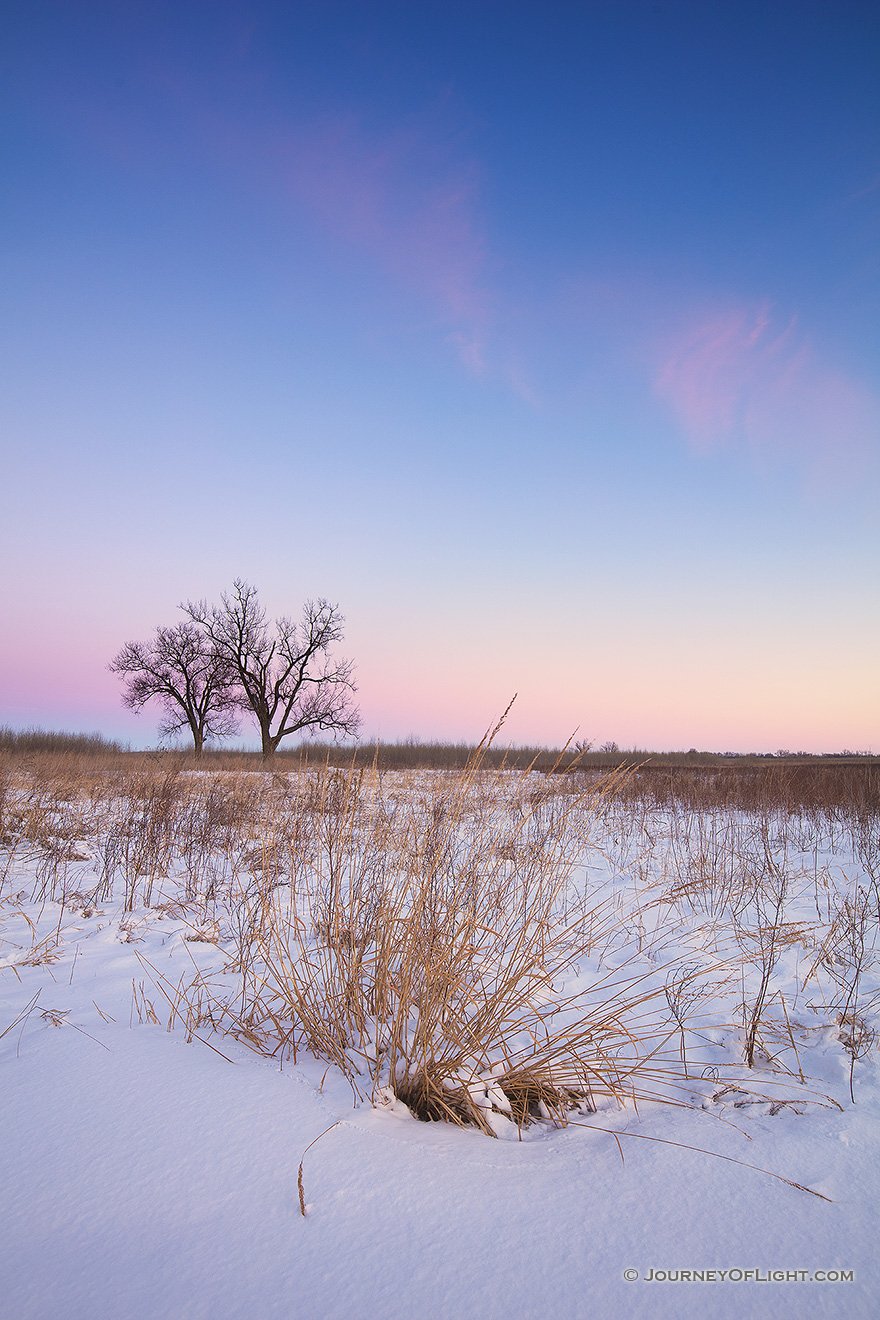 On a cold, winter day, dusk falls upon the prairie at Boyer Chute National Wildlife Refuge in eastern Nebraska. - Boyer Chute Picture