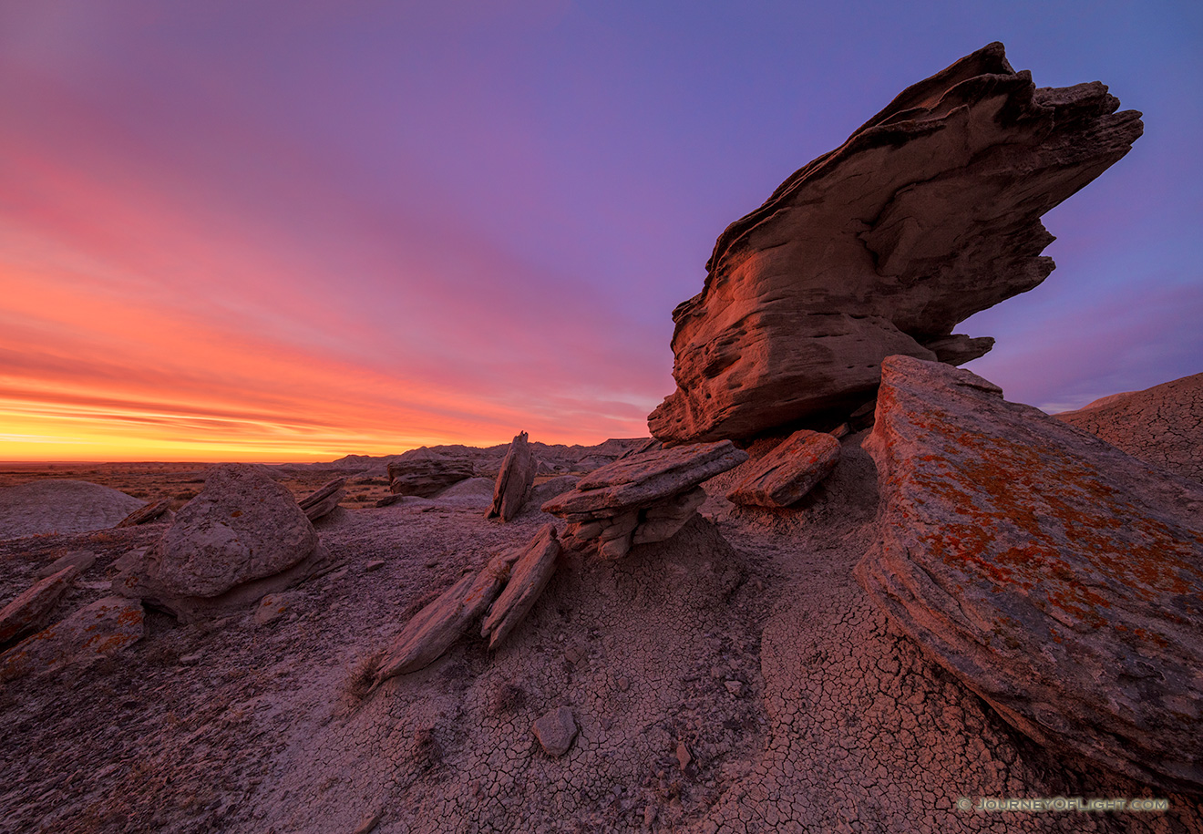 Scenic landscape photograph of a beautiful dawn over Toadstool Geologic Park in western Nebraska. - Nebraska Picture