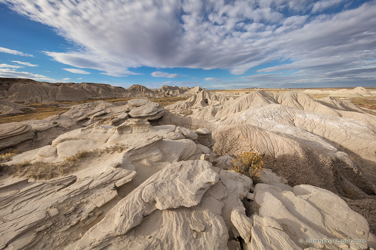 Scenic landscape photograph of Toadstool Geologic Park in western Nebraska in late afternoon. - Nebraska Picture