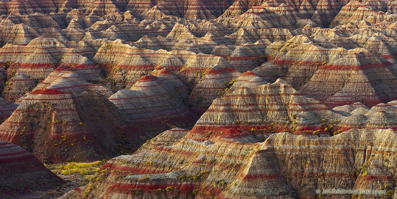 A section of the Badlands in South Dakota glow with the warmth of the pre-risen sun. - South Dakota Picture