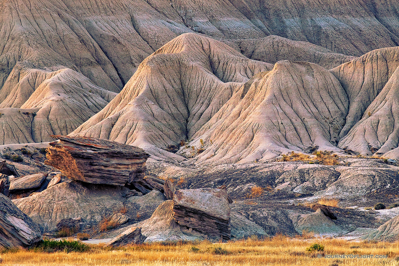 The last light of day touches the unique formations at Toadstool Geologic Park in western Nebraska. - Toadstool Picture