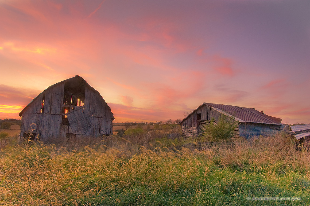 Old Barn At Sunset In Iowa Photograph Scenic Landscape