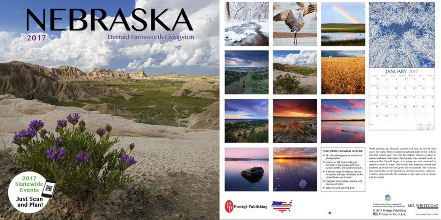 2017 Nebraska State Pride Calendar.  Sold in Costco, Amazon, and Calendar Club.  Contributed All Photography. -  Photography
