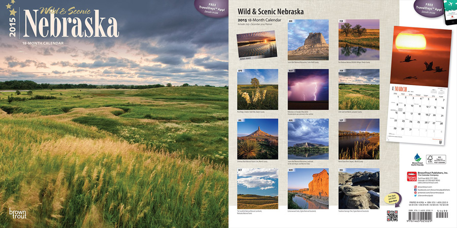 2015 Nebraska Calendar by Brown Trout.  Sold in Amazon, Retail Stores, and Calendar Club.  Contributed 6 Photographs Including Cover. -  Picture